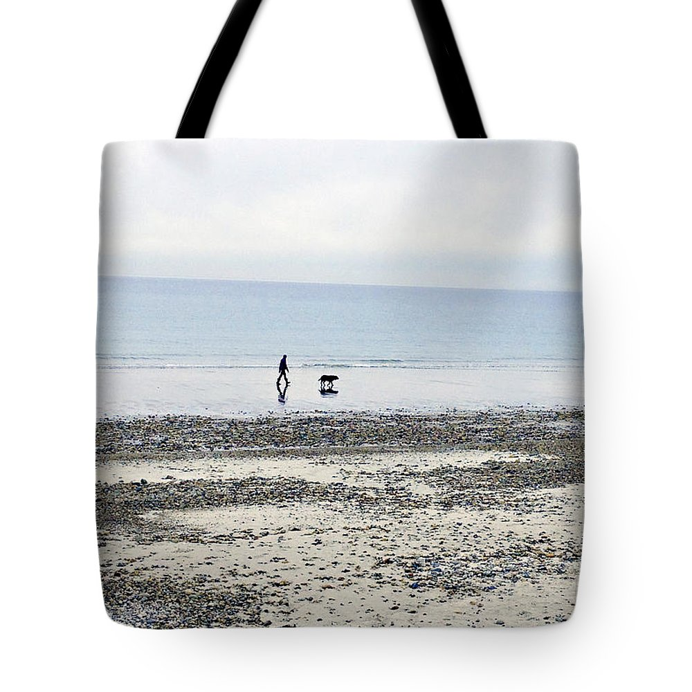 Beach Tote Bag featuring the photograph A Winter's Walk by Roxanne Marshal
