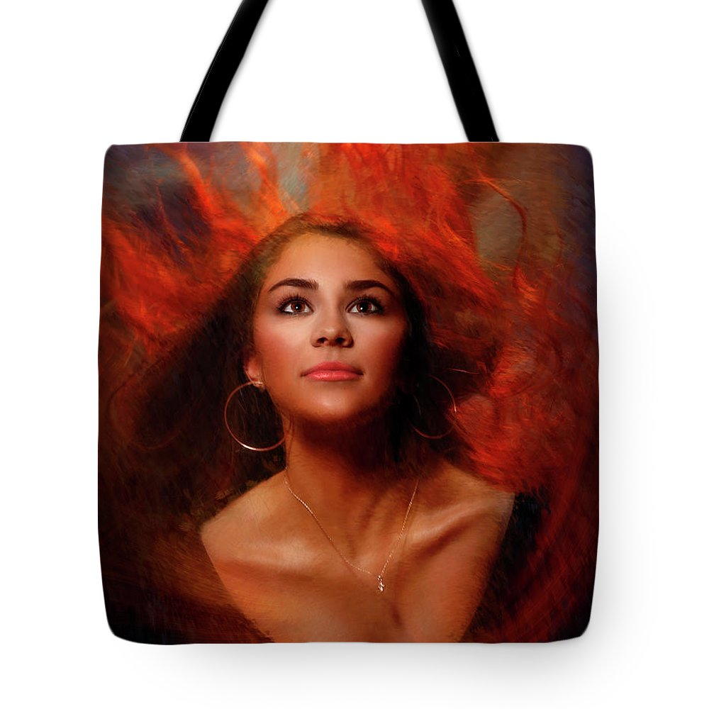Pretty Girls Tote Bag featuring the photograph A Wistful Look Up Warded by Blake Richards