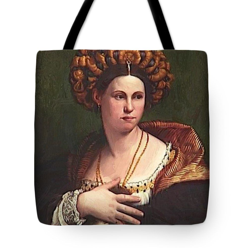 A Tote Bag featuring the painting A Woman by Dossi Dosso
