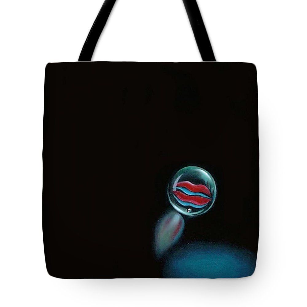Marble Tote Bag featuring the painting A Woman's Kiss Sealed Forever by Roger Calle