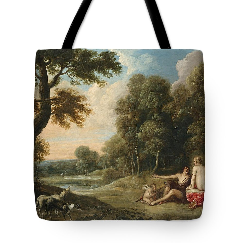 Frans Wouters Tote Bag featuring the painting A Wooded Landscape With Venus Adonis And Cupid by Frans Wouters