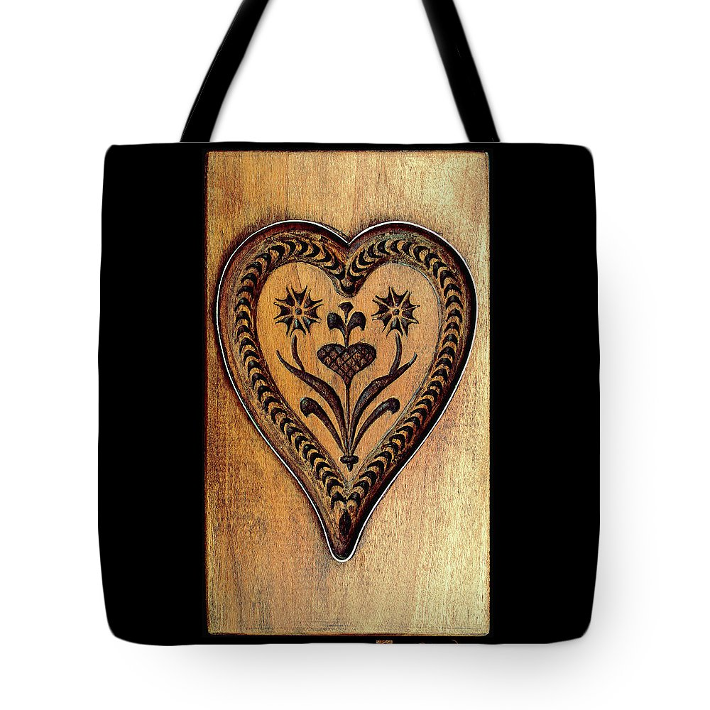 Kitchen Decor Tote Bag featuring the photograph A Wooden Heart by Hanne Lore Koehler