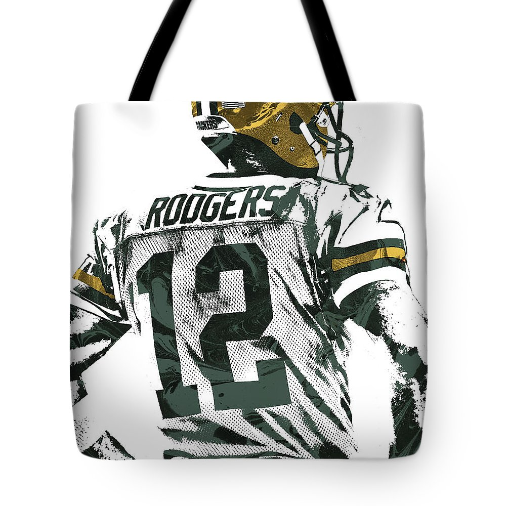 Aaron Rodgers Tote Bag featuring the mixed media Aaron Rodgers Green Bay Packers Pixel Art 5 by Joe Hamilton