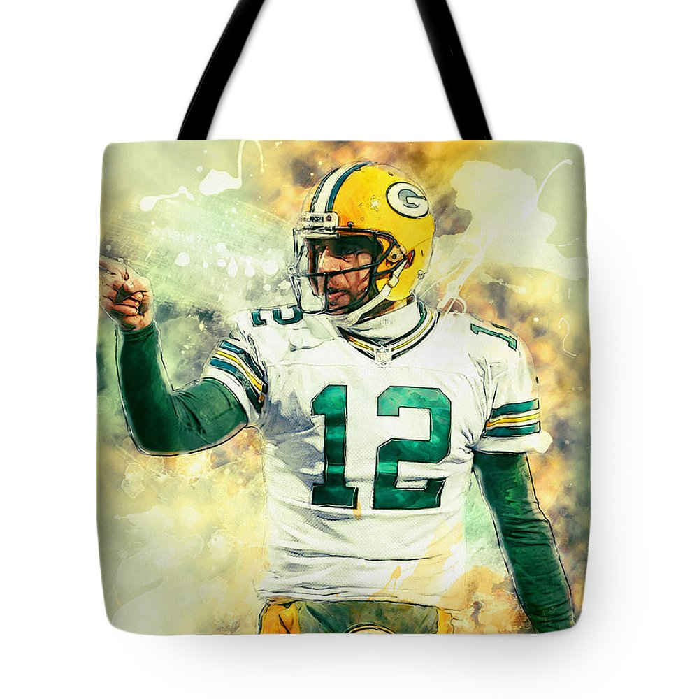 Aaron Rodgers Tote Bag featuring the painting Aaron Rodgers by Zapista