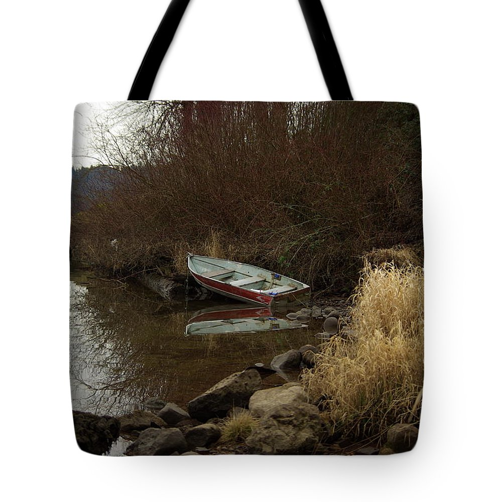 Abandoned Tote Bag featuring the photograph Abandoned Boat II by Cindy Johnston