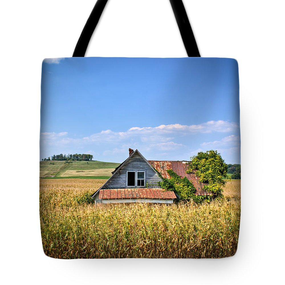 Abandoned Tote Bag featuring the photograph Abandoned Corn Field House by Douglas Barnett