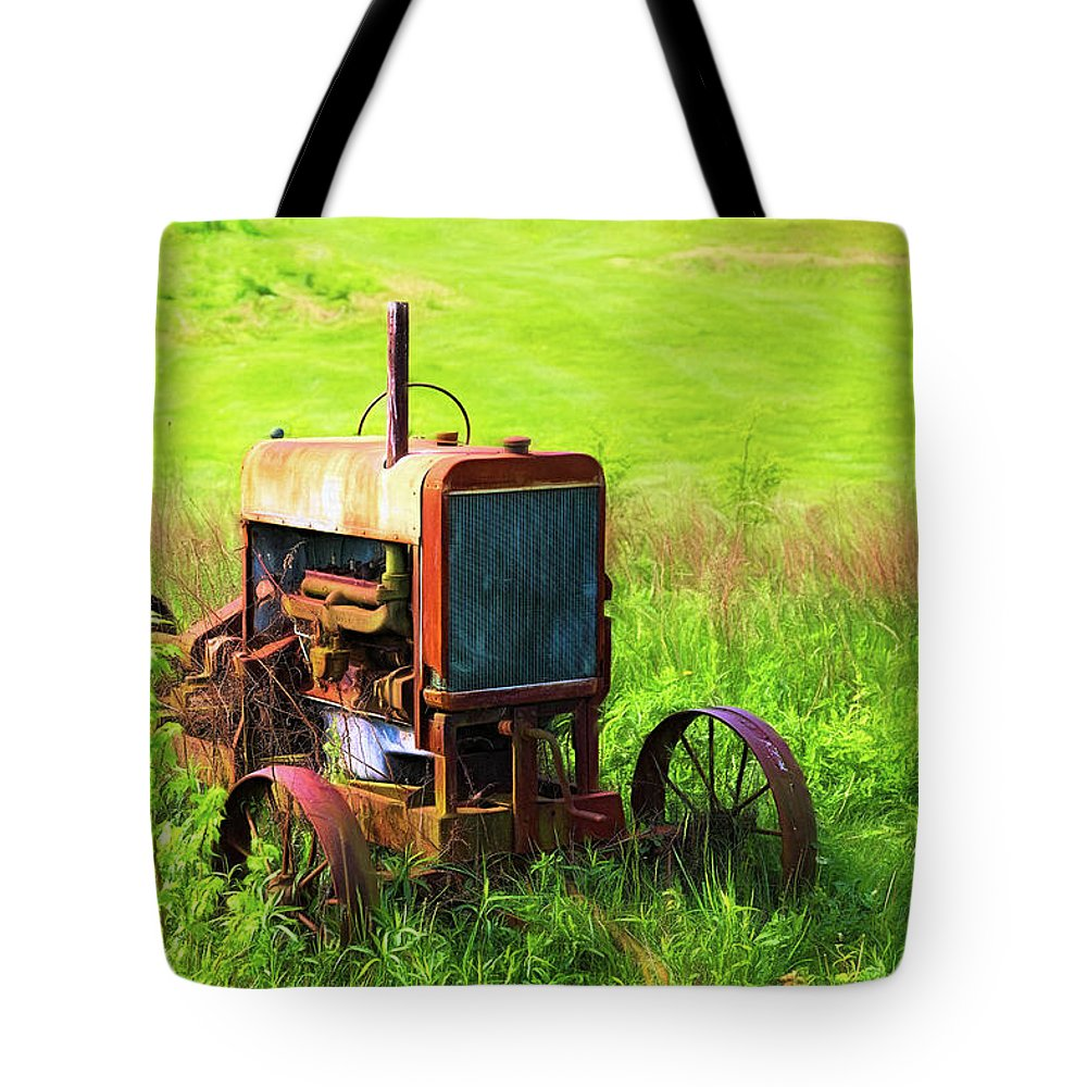 Tractor Tote Bag featuring the photograph Abandoned Farm Tractor by Tom Mc Nemar