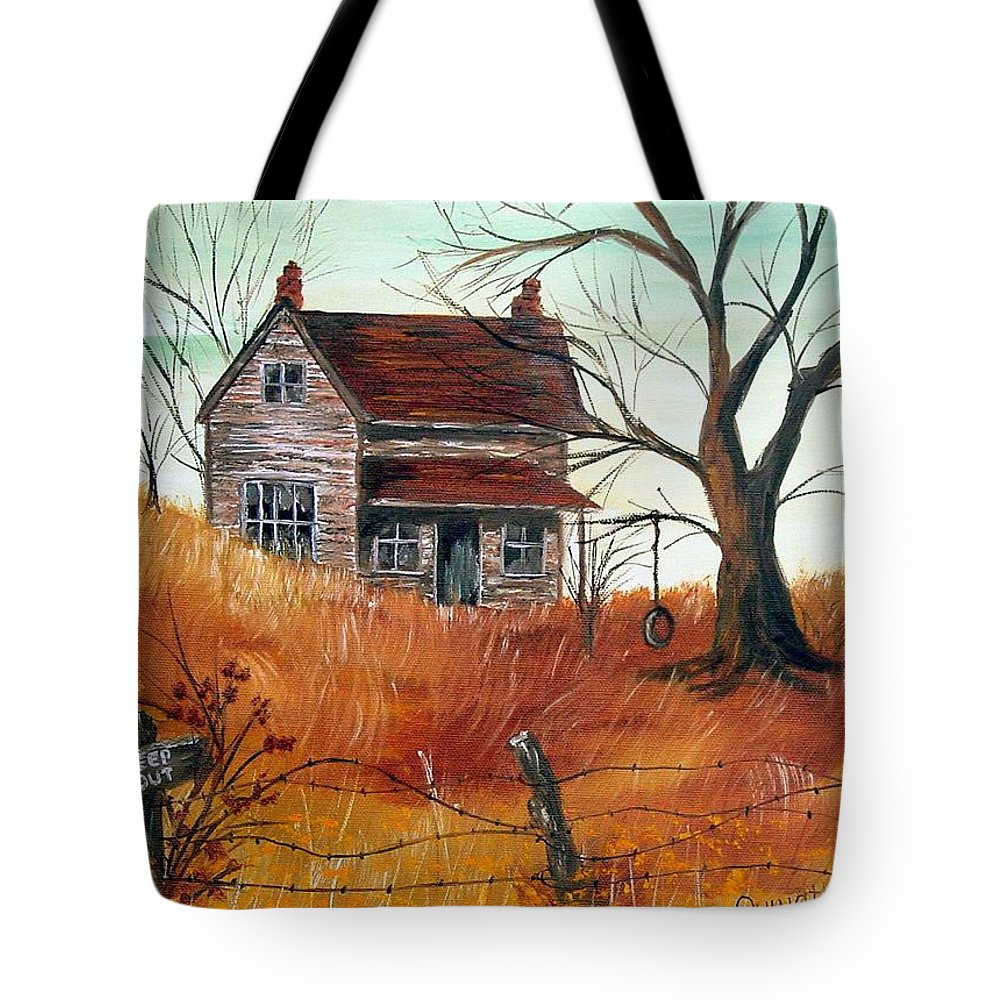 Landscape Tote Bag featuring the painting Abandoned Farmhouse by Quwatha Valentine