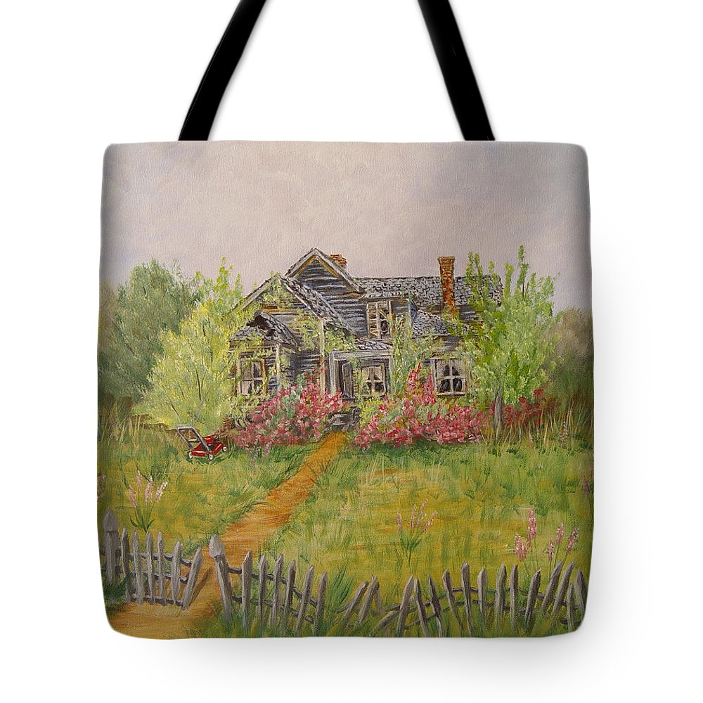Landscape Tote Bag featuring the painting Abandoned House by Quwatha Valentine
