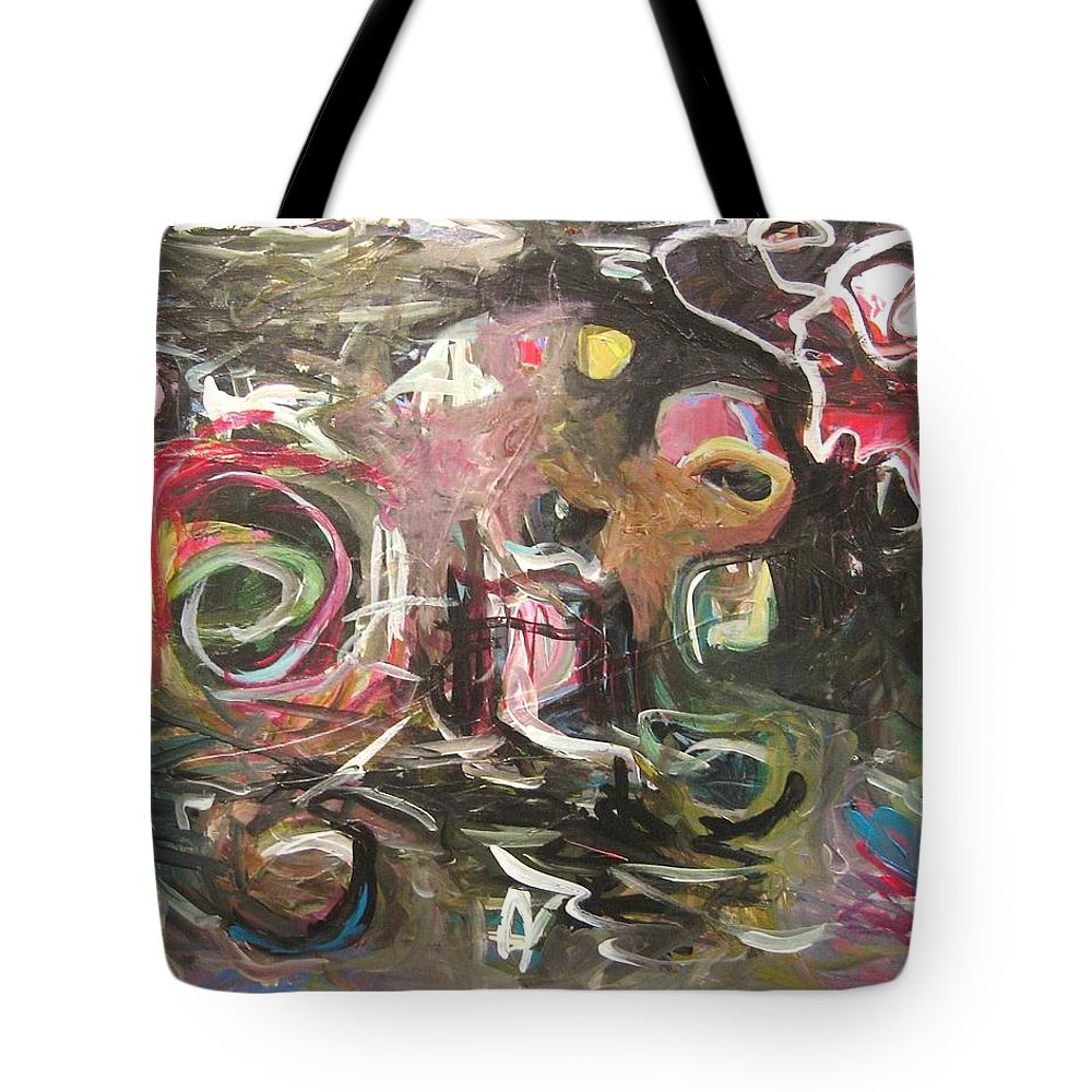 Abstract Paintings Tote Bag featuring the painting Abandoned Idea2 by Seon-Jeong Kim