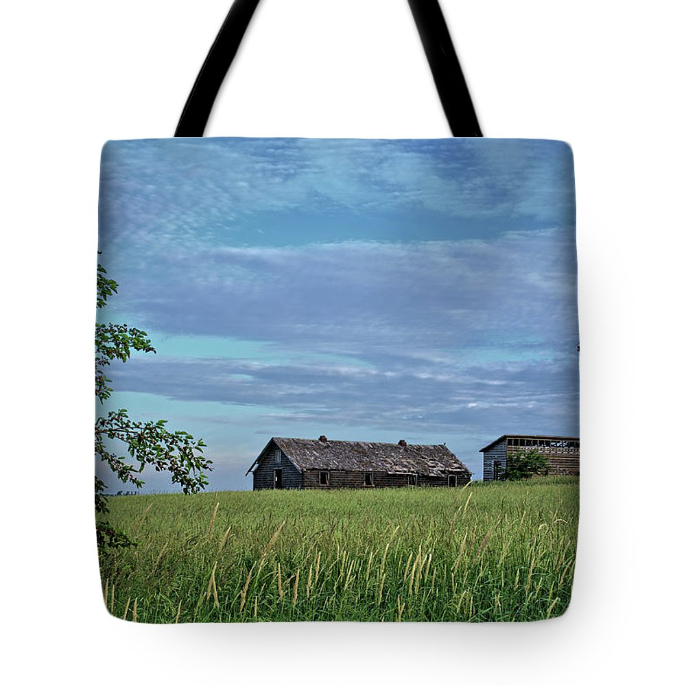 Grass Tote Bag featuring the photograph Abandoned In Grass by Bonfire Photography