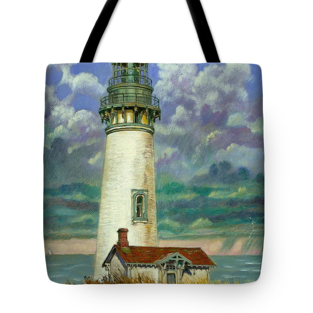 Lighthouse Tote Bag featuring the painting Abandoned Lighthouse by John Lautermilch