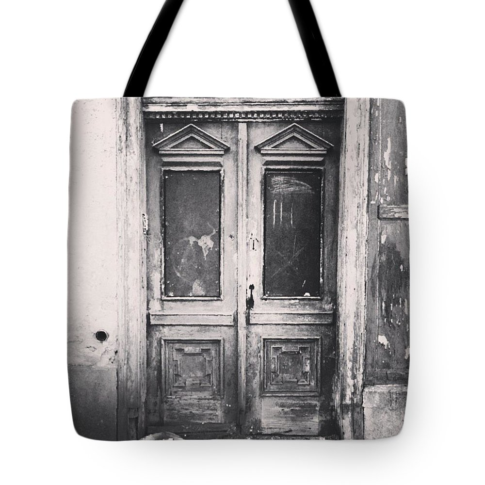 Lostplaces Tote Bag featuring the photograph #abandoned #monochrome #sonneberg by Mandy Tabatt
