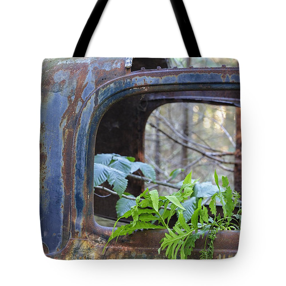 Abandoned Tote Bag featuring the photograph Abandoned Rusted Car - New Hampshire Forest by Erin Paul Donovan