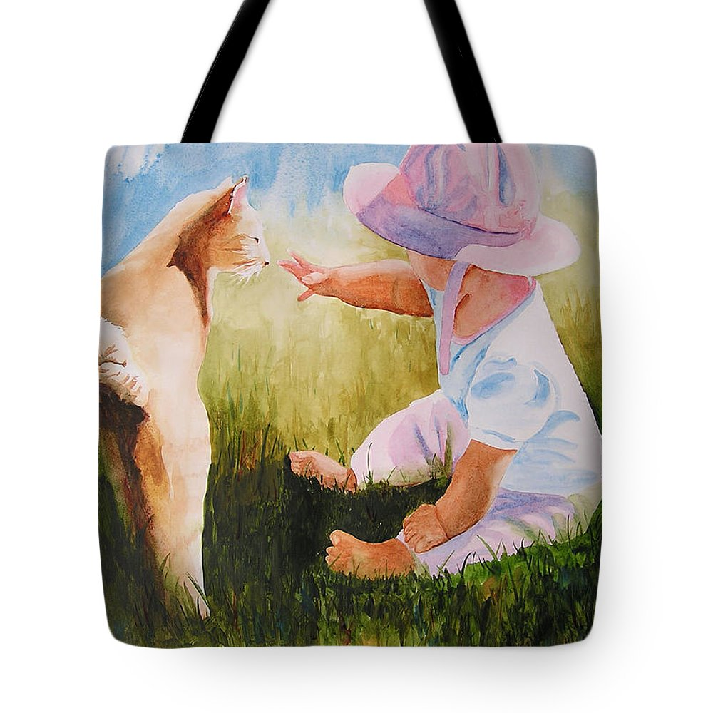 Baby Tote Bag featuring the painting Abbie's Kitty by Karen Stark
