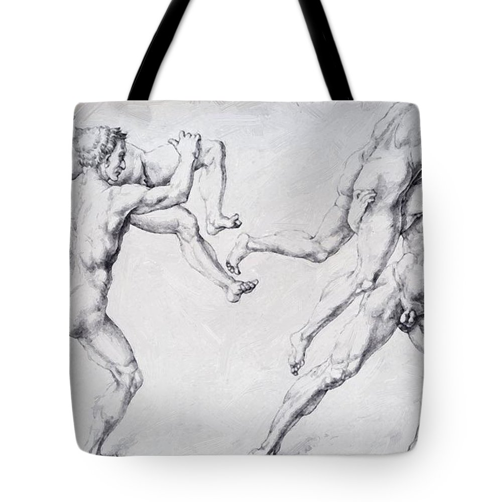 Abduction Tote Bag featuring the painting Abduction Of A Woman Rape Of The Sabine Women 1495 by Durer Albrecht