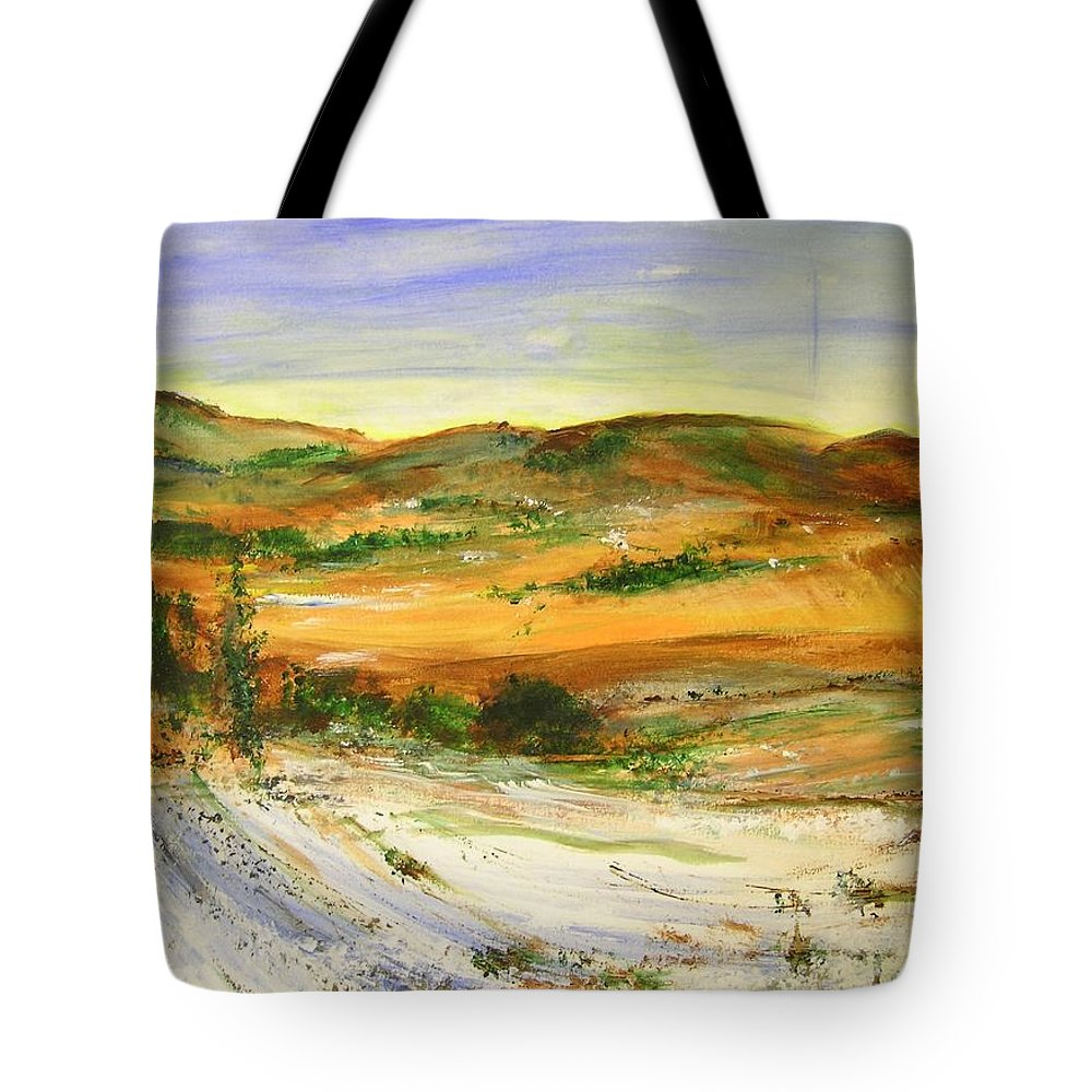 Landscape Tote Bag featuring the painting Aberdeen Winter Landscape by Lizzy Forrester