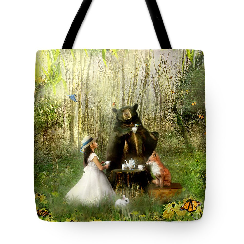 Abigails Friends Tote Bag featuring the mixed media Abigails Friends by Carrie Jackson