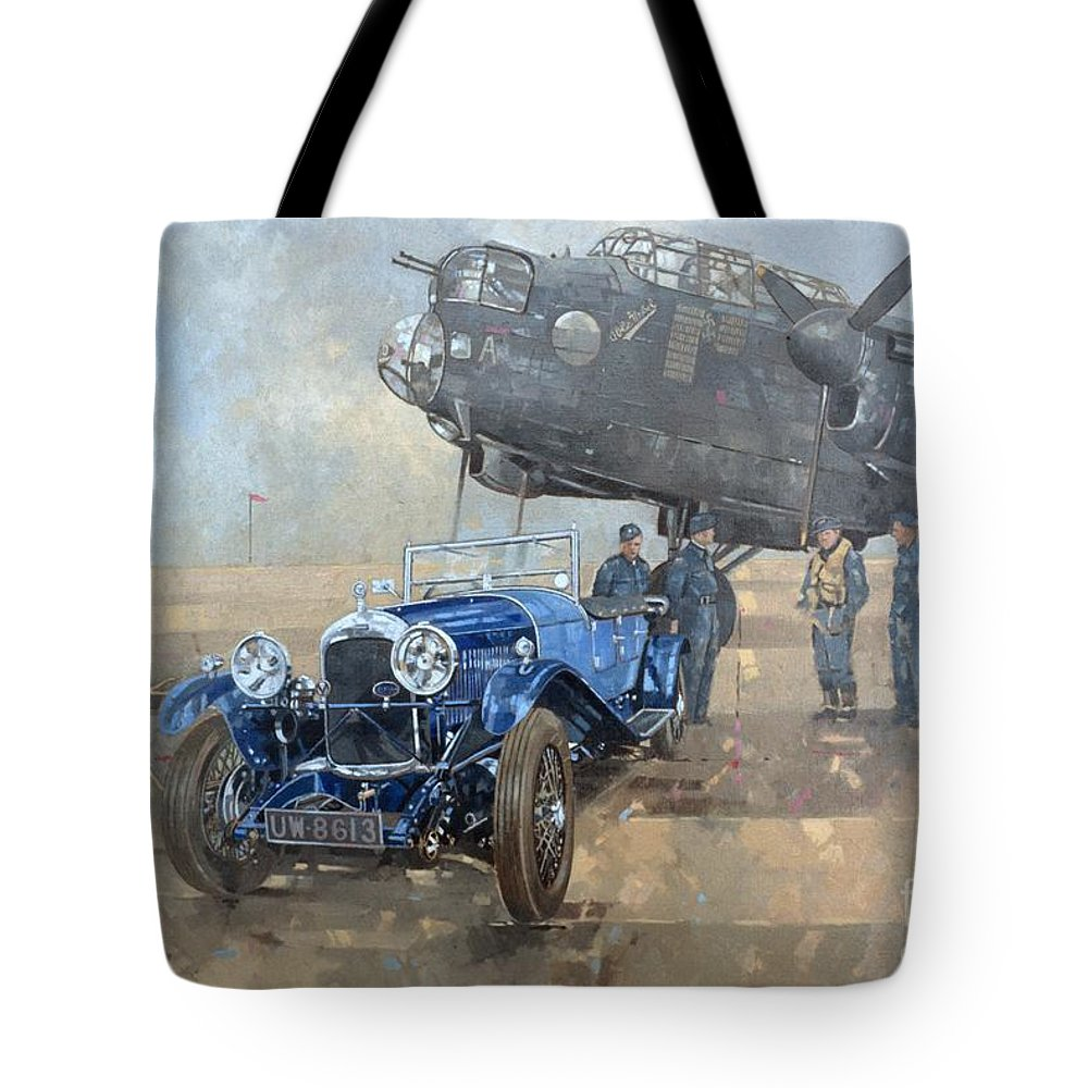 Car; Vehicle; Airplane; Aeroplane; Plane; Military; Air Force; Vintage; Classic Cars; Vintage Car; Nostalgia; Nostalgic; Blue Lagonda Tote Bag featuring the painting Able Mable And The Blue Lagonda by Peter Miller