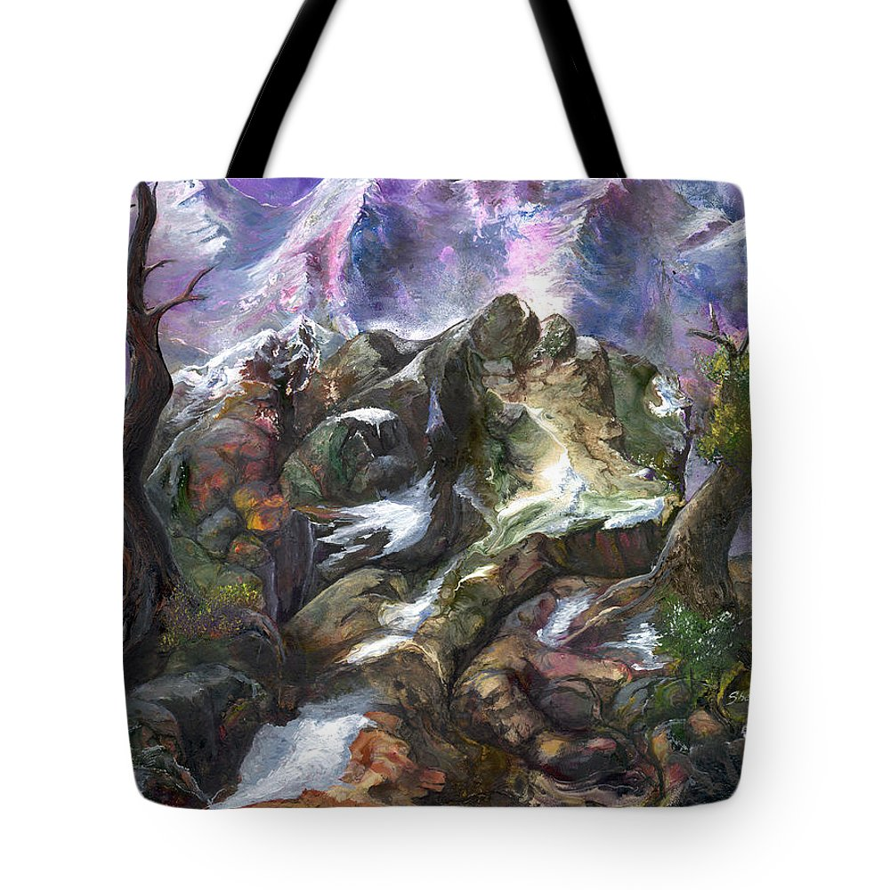 Mountains Tote Bag featuring the painting Above The Timberline by Sherry Shipley