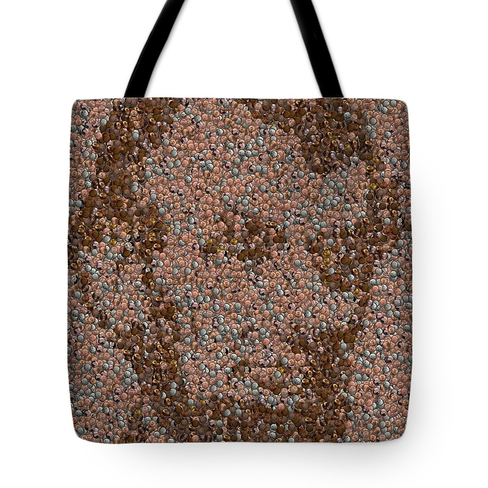 Abe Tote Bag featuring the mixed media Abraham Lincoln Penny Mosaic by Paul Van Scott