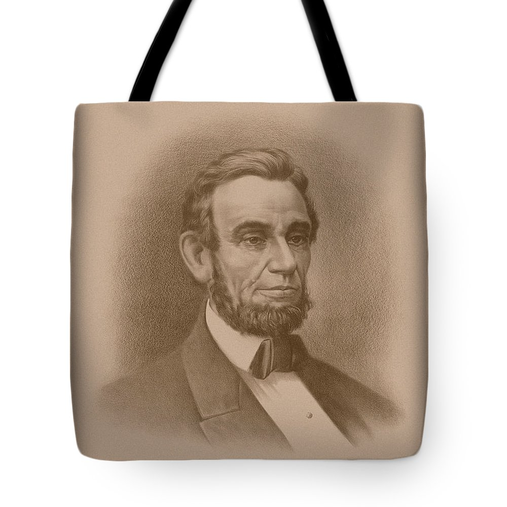 Abraham Lincoln Tote Bag featuring the drawing Abraham Lincoln - Savior Of His Country by War Is Hell Store