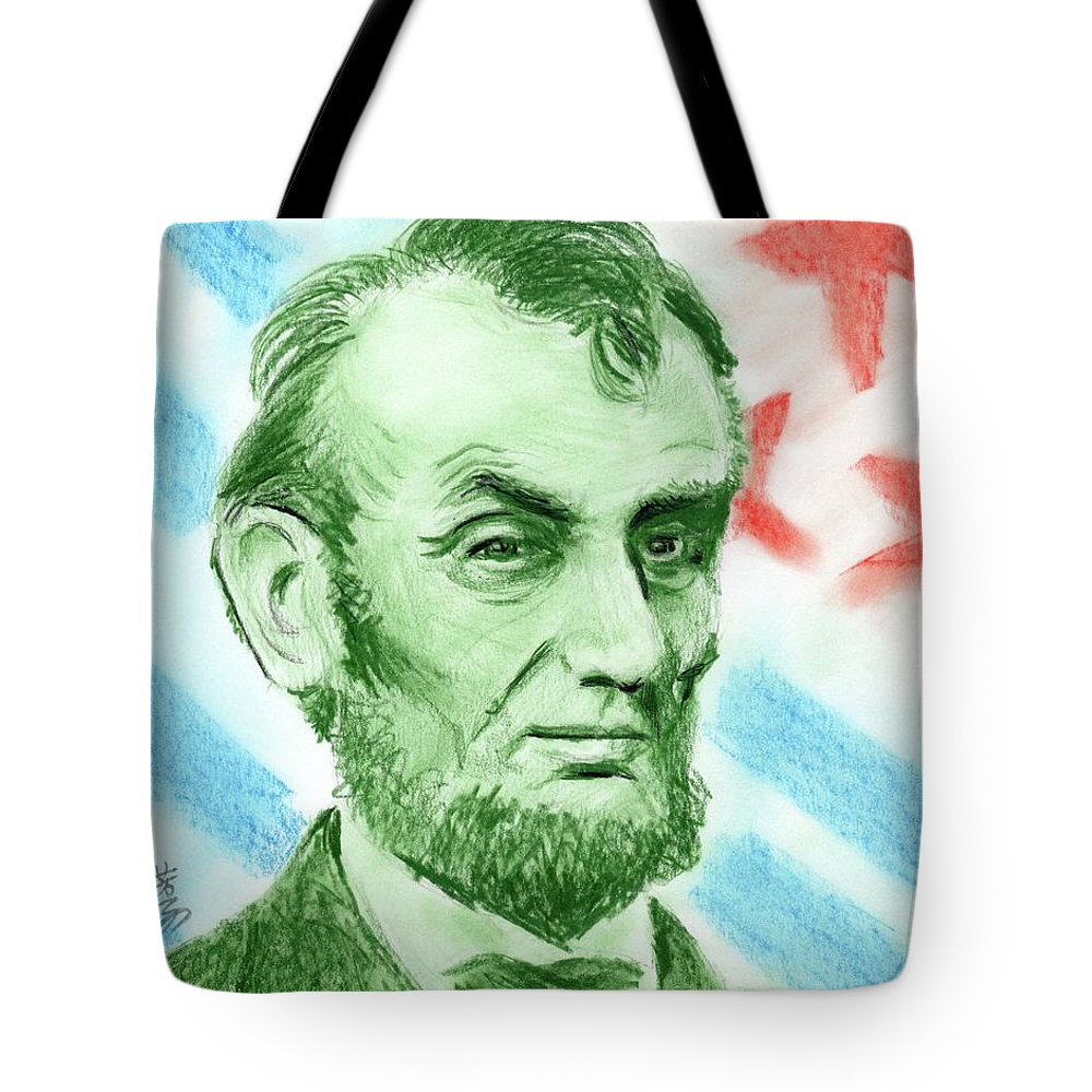 Abraham Lincoln Tote Bag featuring the drawing Abraham Lincoln by Yoshiko Mishina