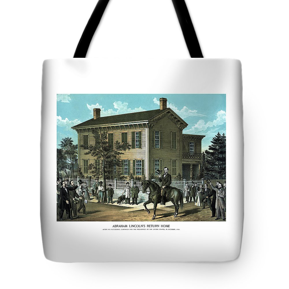 Abraham Lincoln Tote Bag featuring the painting Abraham Lincoln's Return Home by War Is Hell Store