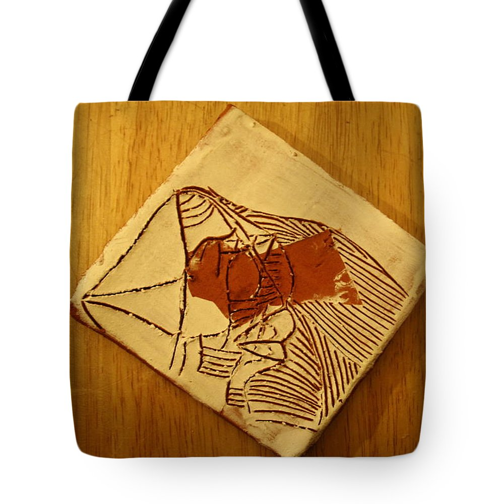 Jesus Tote Bag featuring the ceramic art Abram - Tile by Gloria Ssali