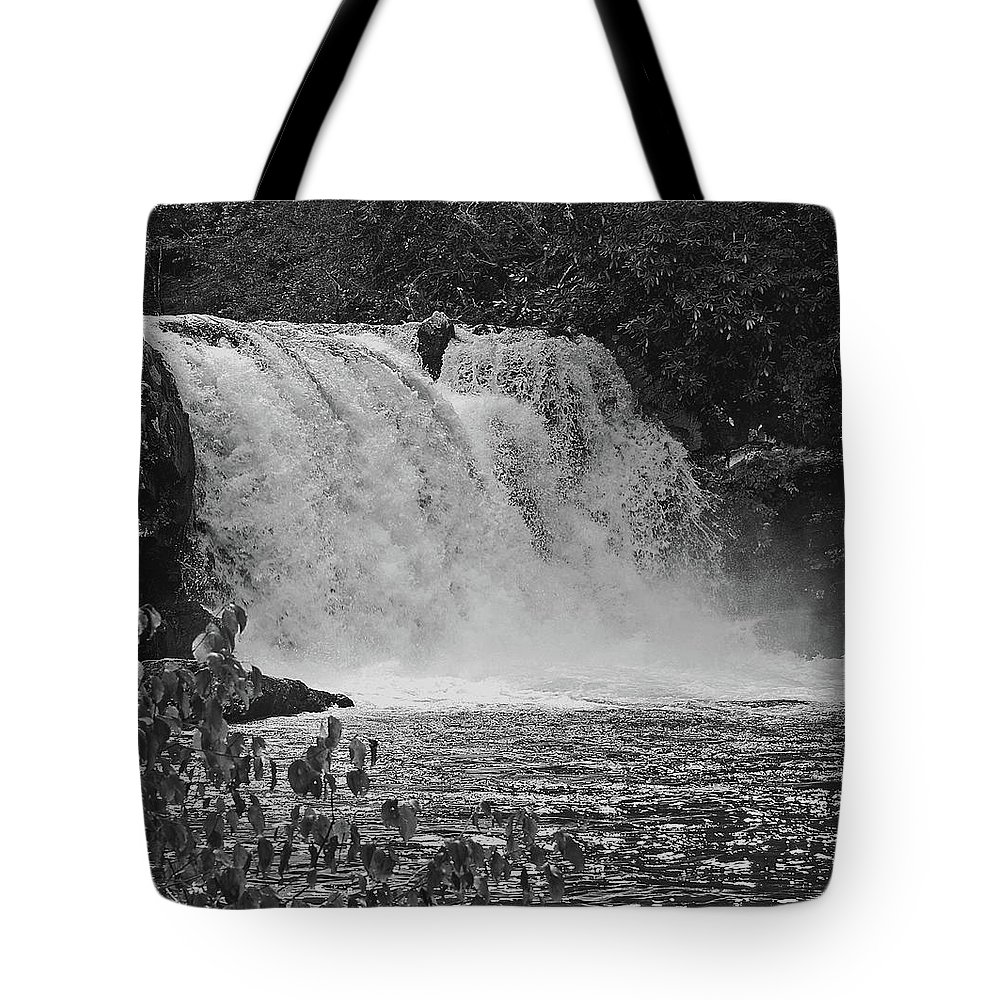 Abrams Falls Tote Bag featuring the digital art Abrams Falls Cades Cove Tn Black And White by DigiArt Diaries by Vicky B Fuller