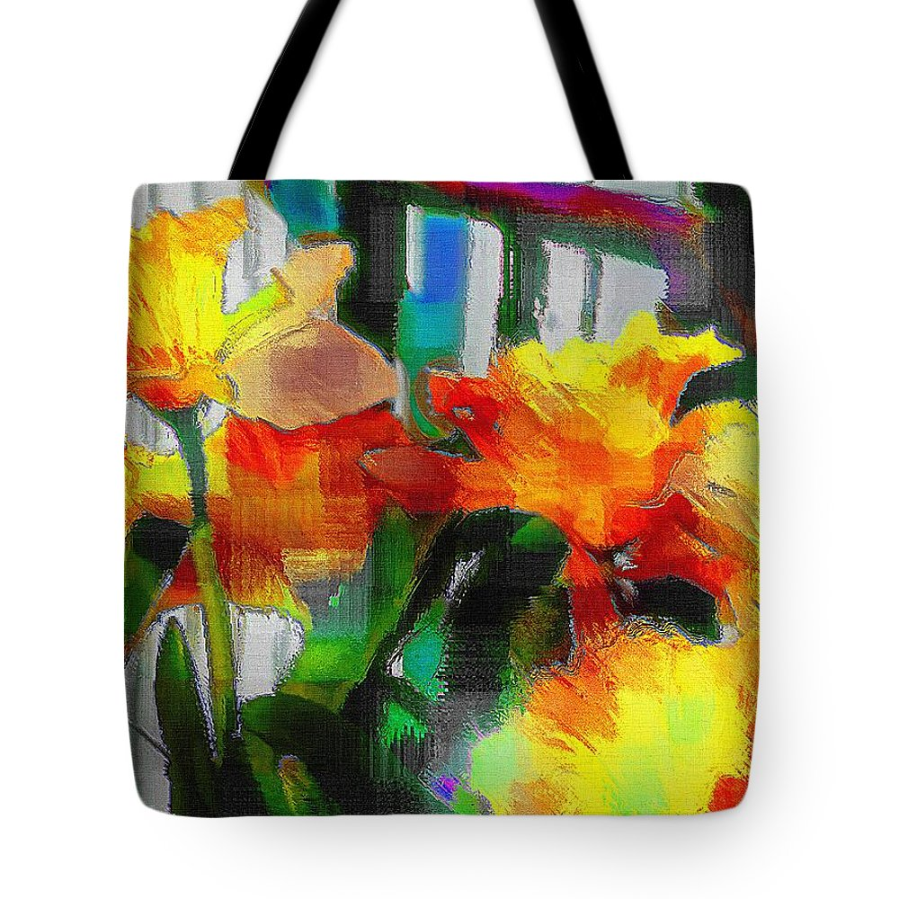 Absinthe Tote Bag featuring the painting Absinthe Daffies by RC DeWinter