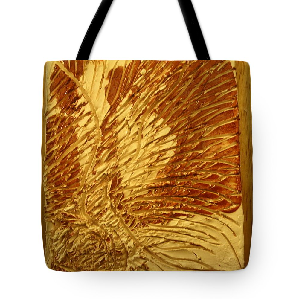 Jesus Tote Bag featuring the ceramic art Abstract - Tile by Gloria Ssali