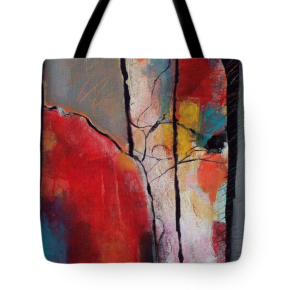 Abstract Expressionism Tote Bag featuring the painting Abstract 050 by Donna Frost