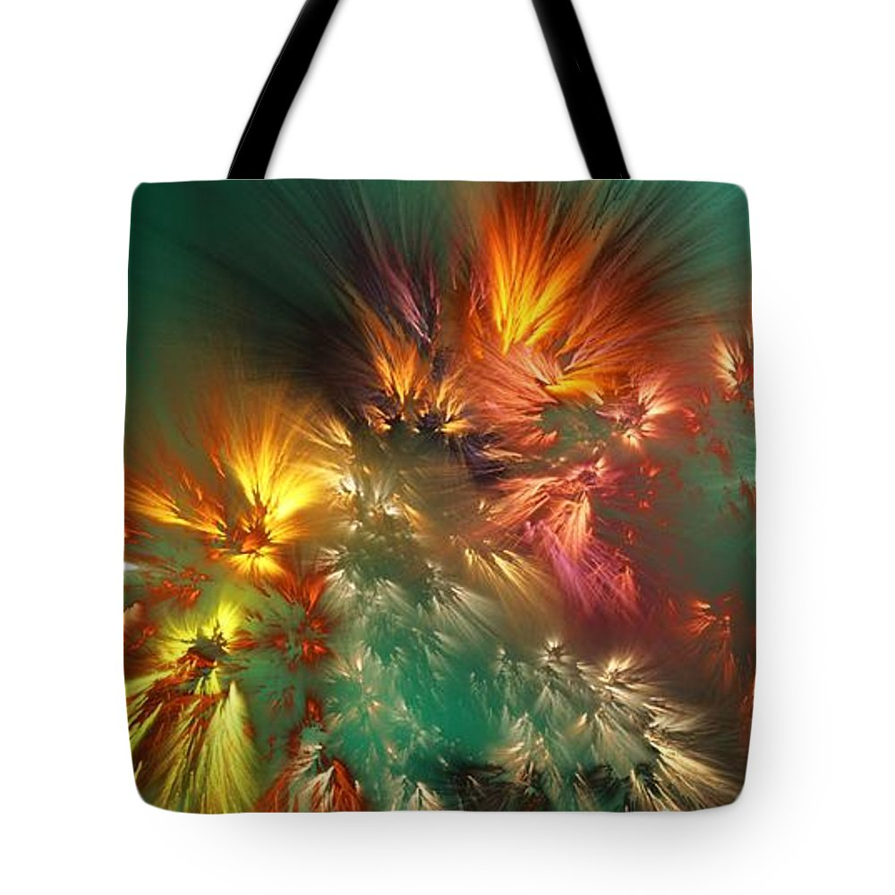 Fine Art Tote Bag featuring the digital art Abstract 090710A by David Lane
