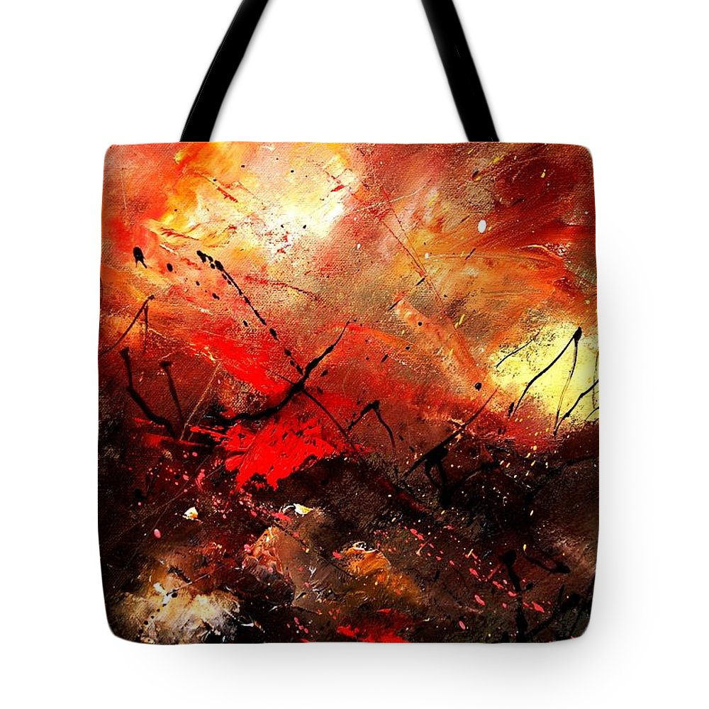 Abstract Tote Bag featuring the painting Abstract 100202 by Pol Ledent