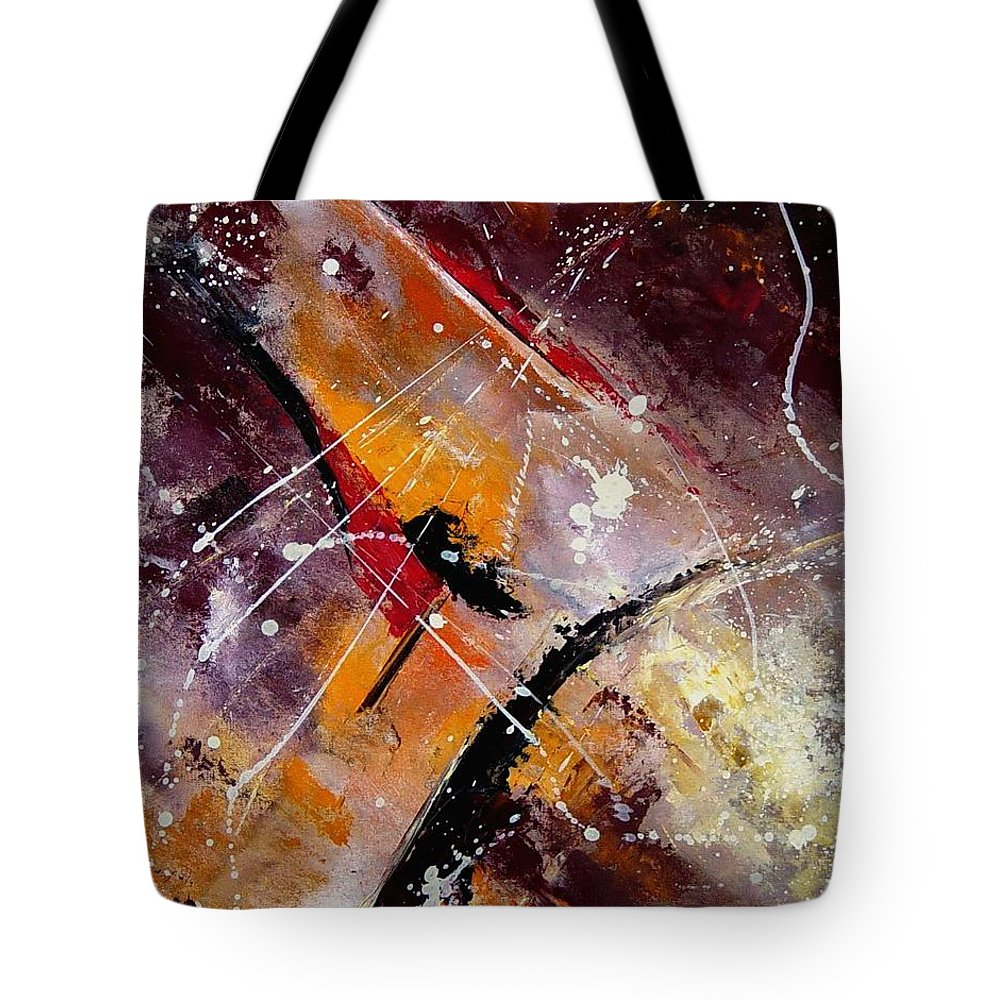 Abstract Tote Bag featuring the painting Abstract 45 by Pol Ledent