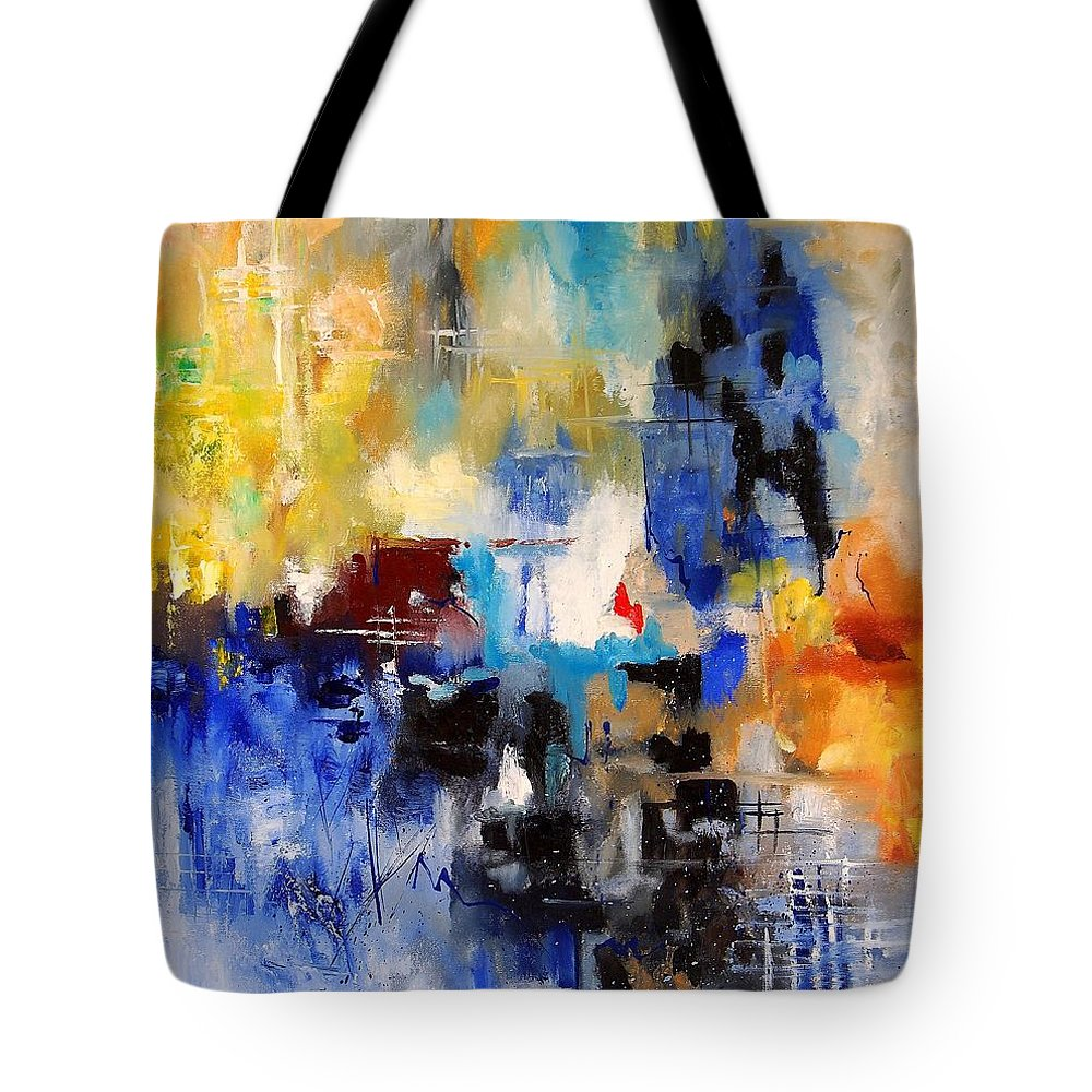 Abstract Tote Bag featuring the painting Abstract 69070 by Pol Ledent