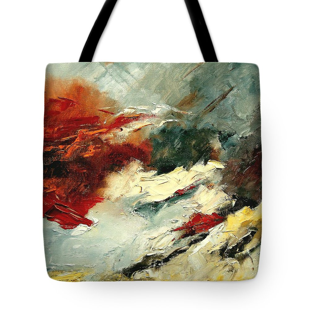 Abstract Tote Bag featuring the painting Abstract 9 by Pol Ledent