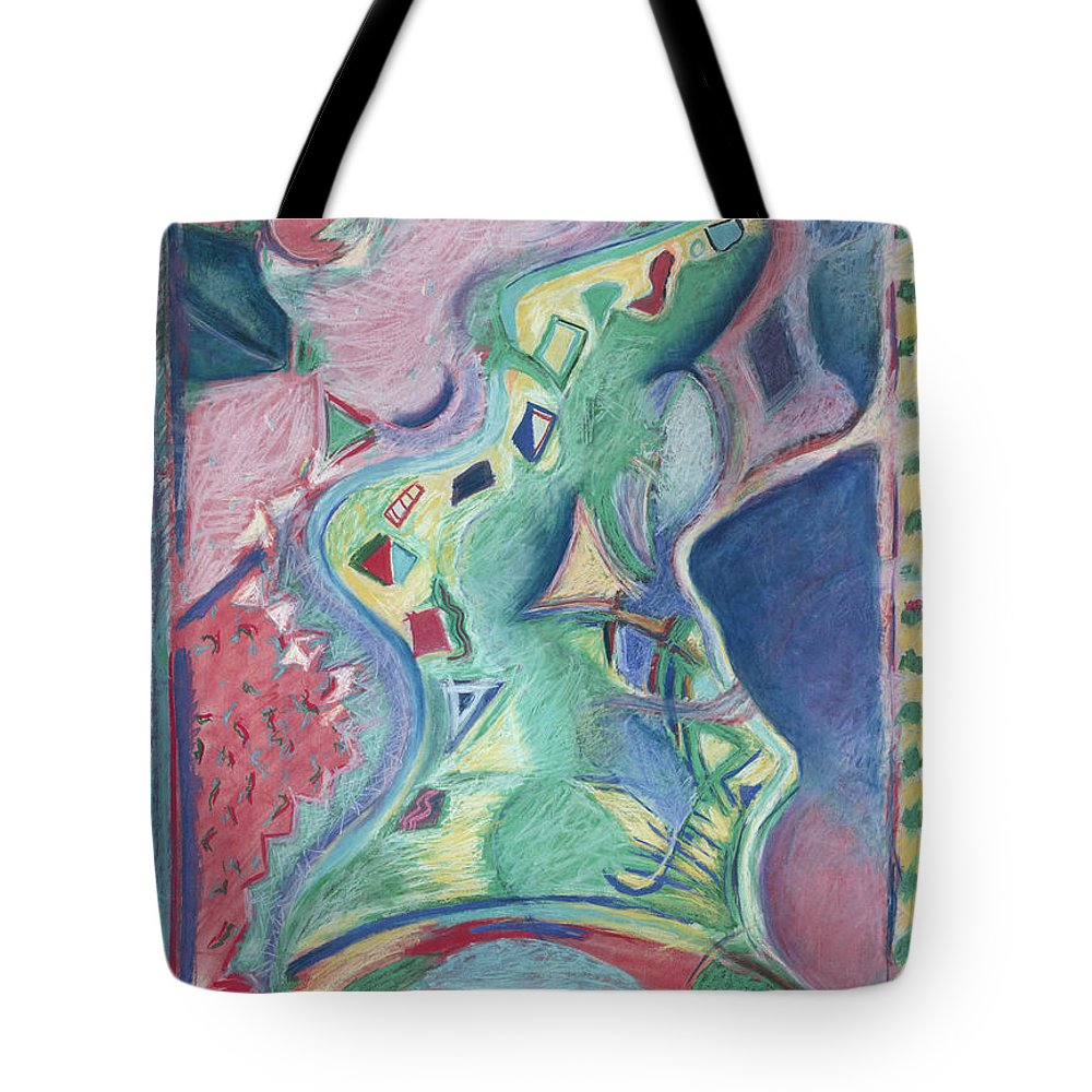 Abstract Tote Bag featuring the painting Abstract 92 - Inner Landscape by Kerryn Madsen- Pietsch