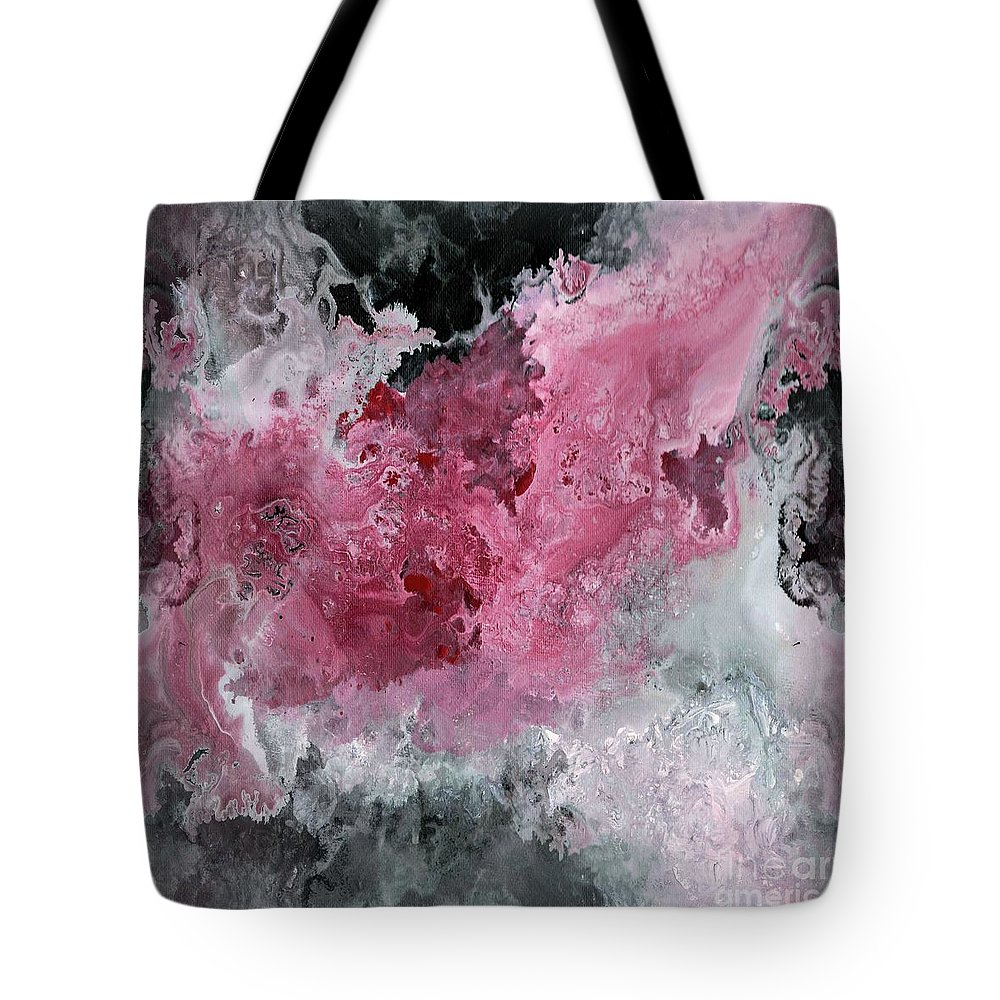 Abstract Acrylic Painting Red Black And White Tote Bag For Sale By