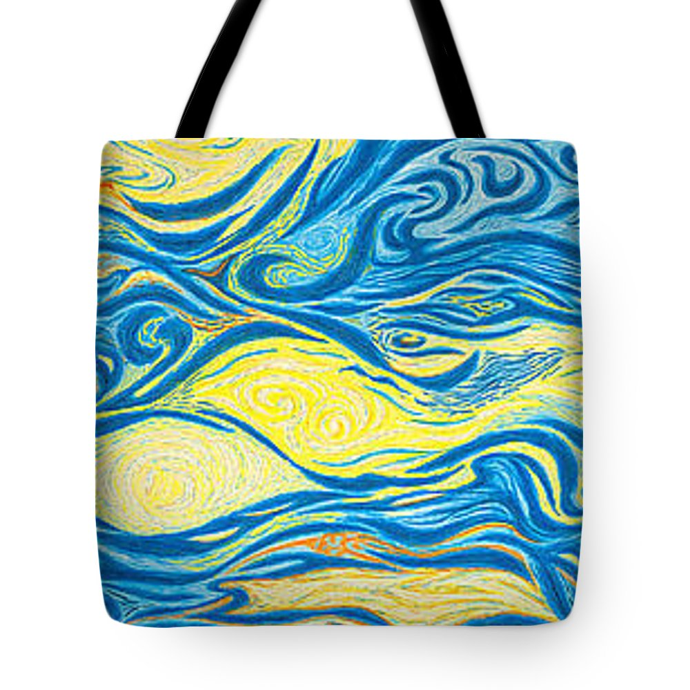 Art Tote Bag featuring the drawing Abstract Art Good Morning Contemporary Modern Artwork Giclee Fine Art Prints Life Cycle Swirls Water by Baslee Troutman