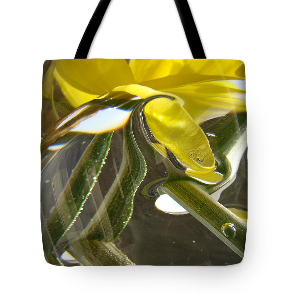 �daffodils Artwork� Tote Bag featuring the photograph Abstract Artwork Daffodils Flowers 1 Natural Abstract Art Prints Glass Vase Water Art Light Air by Baslee Troutman