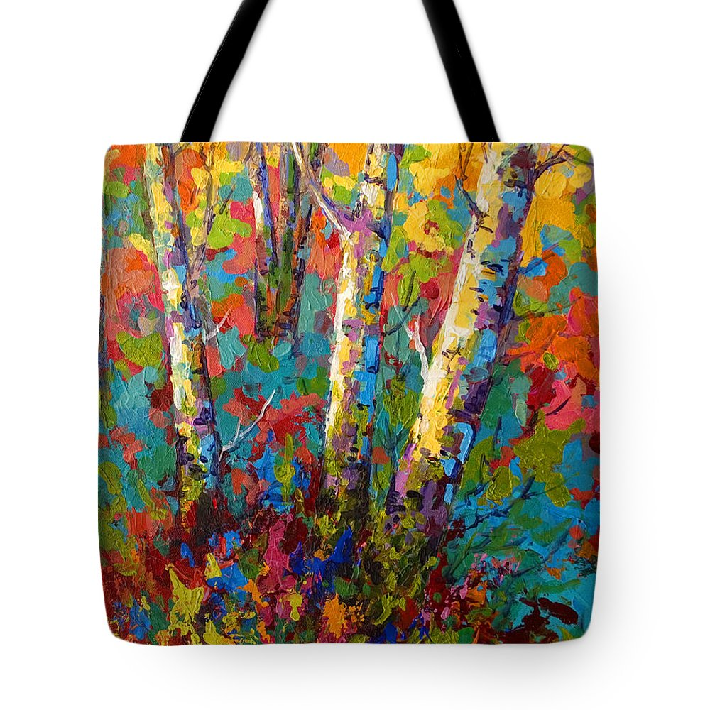Trees Tote Bag featuring the painting Abstract Autumn II by Marion Rose