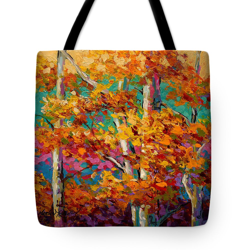 Trees Tote Bag featuring the painting Abstract Autumn III by Marion Rose