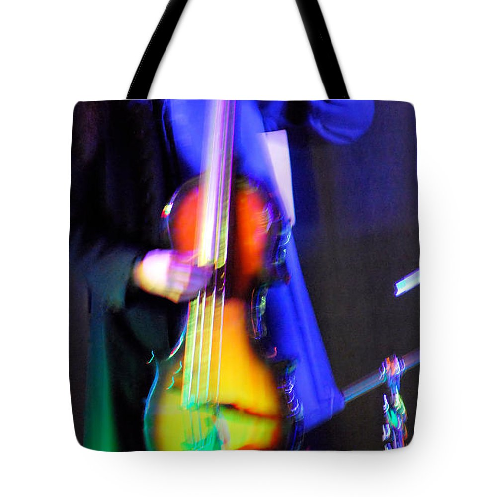 Abstract Tote Bag featuring the photograph Abstract Bass Player. by Oscar Williams