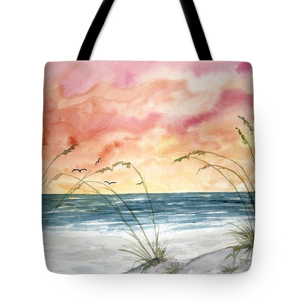 Abstract Tote Bag featuring the painting Abstract Beach Painting by Derek Mccrea