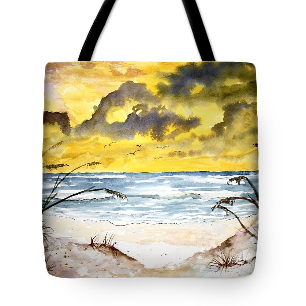 Beach Tote Bag featuring the painting Abstract Beach Sand Dunes by Derek Mccrea