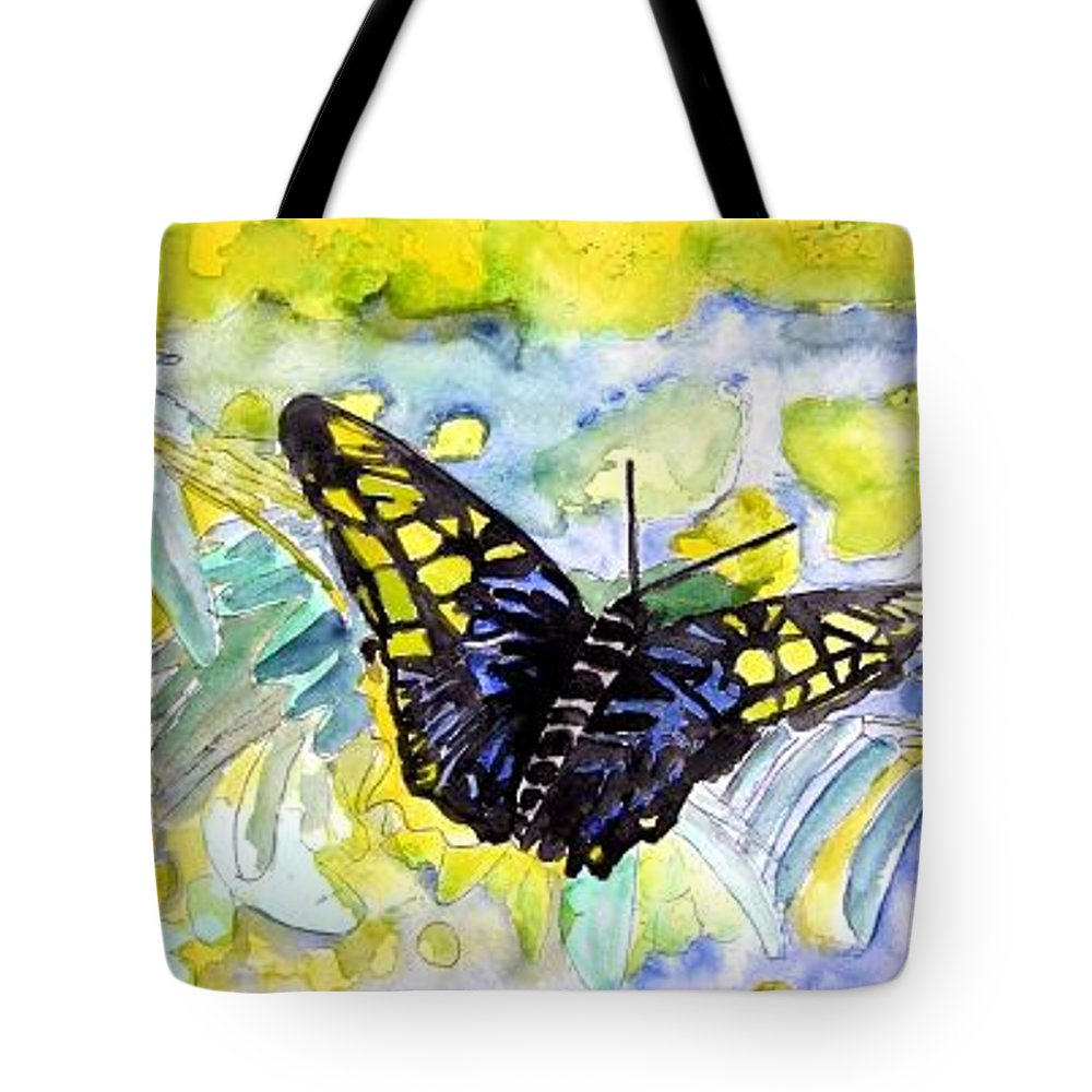 Abstract Tote Bag featuring the painting Abstract Butterfly by Derek Mccrea