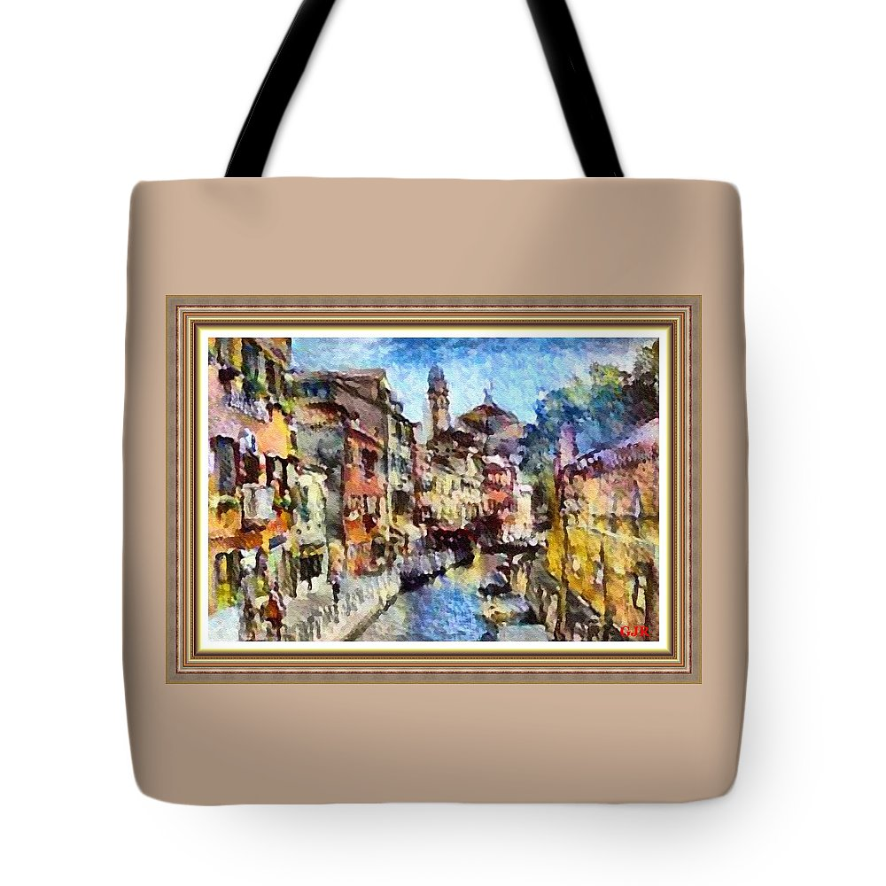 Abstract Tote Bag featuring the digital art Abstract Canal Scene In Venice L A S With Decorative Ornate Printed Frame. by Gert J Rheeders