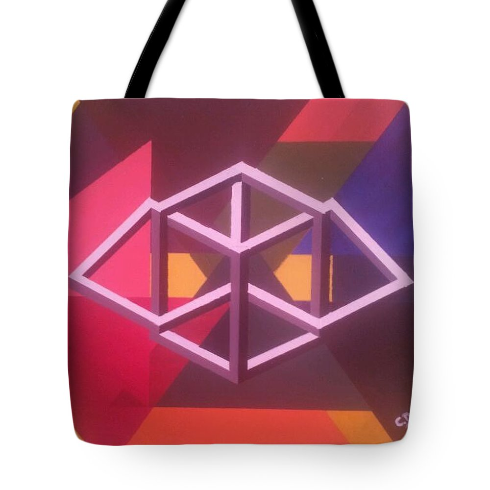 Blocks And Triangles Tote Bag featuring the painting Abstract by Christine Daffie
